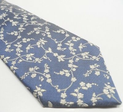 Hugo Boss Men's Tie Blue Silk Tie | Floral Pattern Made in Italy Necktie
