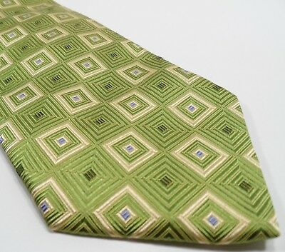 Hugo Boss Men's Tie Green Silk Tie | Geometric Pattern Made in Italy Necktie