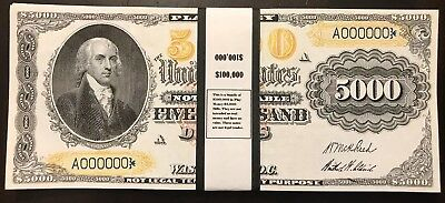 $100,000 In 1878 $5,000 Bills Play/Prop Money US Notes James Madison USA