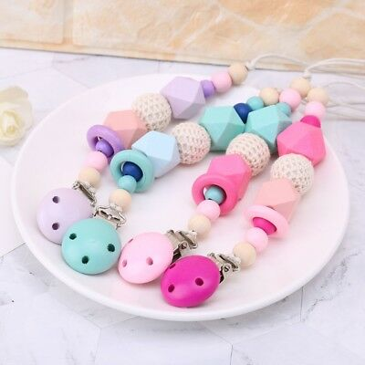 For Baby Chew Pacifier Clip Teething Dummy Wooden Soother Silicone Clip NEW YU