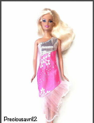 Brand new Barbie doll clothes outfit princess wedding dress pink silver dress.