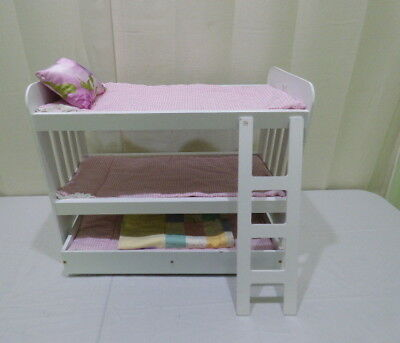 Triple Stackable Wooden Bunk Bed With Trundle Linens For American