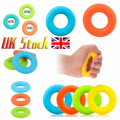 UK Silicone Strength Finger Hand Grip Muscle Power Training Trainer Exerciser