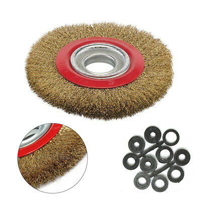 6″ Inch 150mm Fine Wire Brush Wheel With 10pc Adaptor Rings for Bench Grinder UK