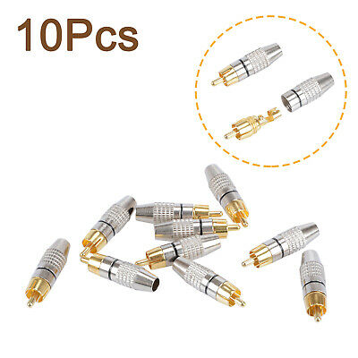 10 X RCA Male Plug Adapter Solder Audio Video Phono Cable Connector Gold Plated