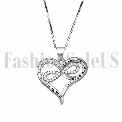 """I Love You to the moon and back"" Women's Infinity Love Heart Pendant Necklace"