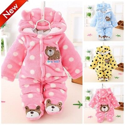 Infant Kids Baby Boys Girls Flannel Jumpsuit Warm Hooded Cartoon Romper Outfits