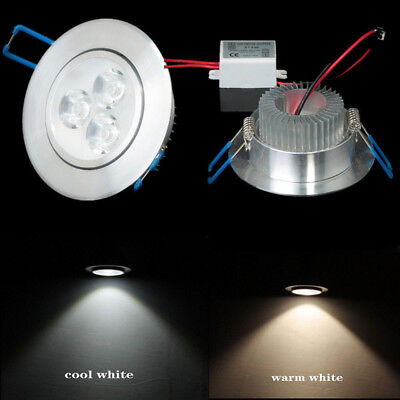 3W Cool / Warm White Power Spotlight LED Recessed Ceiling Downlight Round Bulbs