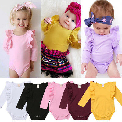 UK STOCK Newborn Baby Girl Ruffle Romper Bodysuit Jumpsuit Autumn Outfit Clothes