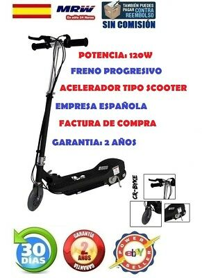 Patinete Electrico Cr-Byke Sx-E1013 Negro 120W 15Km 12Km/h Patin Scooter 24Horas