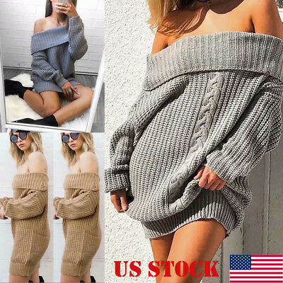 Women Winter Warm Off Shoulder Chunky Knitted Sweater Thick Knit Pullover Jumper