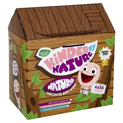 Kinder By Nature Natural Unscented Baby Wipes 4 x 56 Wipes 1 2 3 6 12 Packs