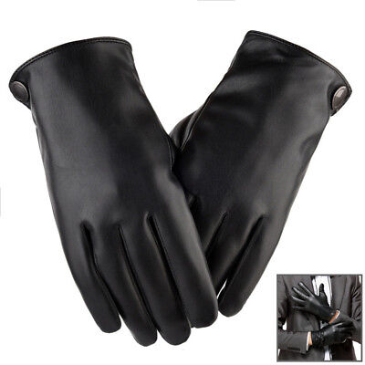 Mens Womens Winter Leather Motorcycle Biker Full Finger Touch Screen Warm Gloves
