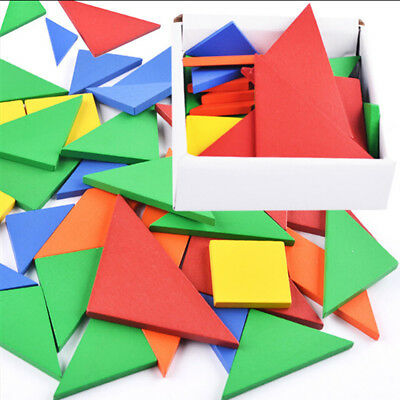 Wooden Wood IQ Game Jigsaw Tangram Brain Teaser Puzzle Set Pretend Play Toy H1