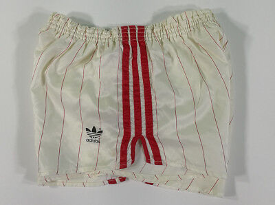 Adidas Short Vintage Bianco A Righe Rosse Old Running Sport West Germany