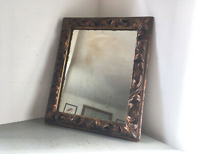 Small Antique Victorian Leaf Scroll Carved Wooden Rectangular Mirror, Orig Glass
