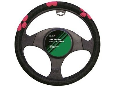 Summit Universal Steering Wheel Cover, Black With Pink Paw Print