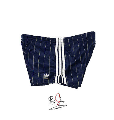 Adidas Short Vintage Blu A Righe Bianche Old Running Sport Pants Shiny