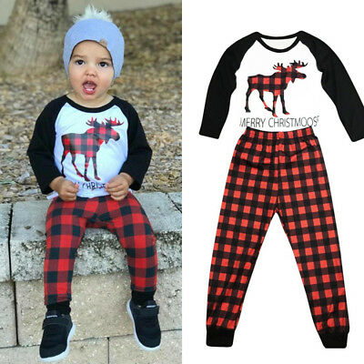 2018 Xmas Deer Sleepwear Baby Kids Boys Girls Cotton Nightwear Pyjamas set 2-9Y