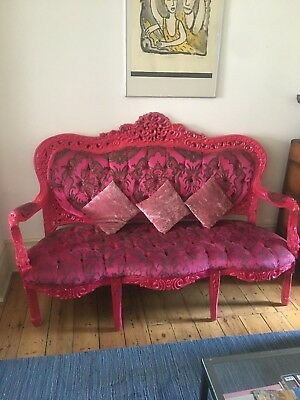 Antique French Ornate Sofa Reupholstered Matthew Williamson Fabric In Bold Pink