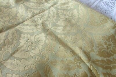 Beautiful Vintage French Gold Embossed Floral Motif Fabric Unused Old Stock