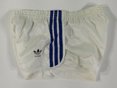 Adidas Short Vintage Bianco A Righe Blu Old Running Sport West Germany