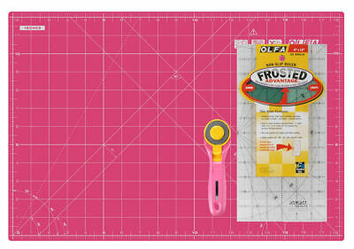 "Olfa Pink Set, 12x18"" Self Healing Mat, 6x12"" Non-Slip Ruler, 45MM Rotary Cutter"