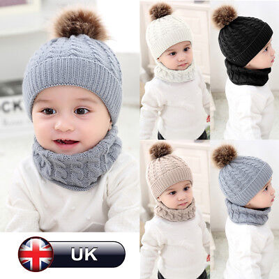 Infant Toddler Baby Winter Soft Knit Hat Beanie Cap Knitted Scarf + Neckerchief
