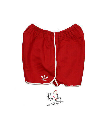 Adidas Short Vintage Rosso Con Righe Bianche Old Running Sport Pants