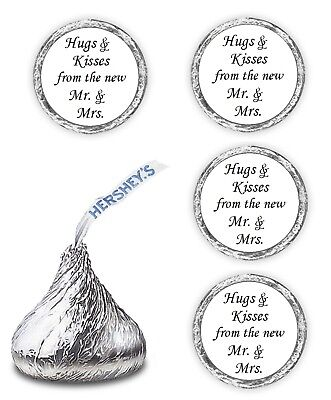 324 Hugs Kisses from The Mr. & Mrs. Hershey Kiss Favors Wedding Stickers