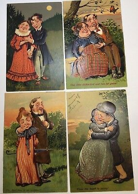 Vintage Romance Postcards Variety 4 Pfb #7608 Couples, 1 Uposted, Color!!