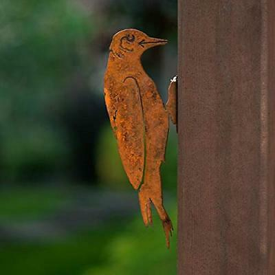 Elegant Garden Design Woodpecker, Steel Silhouette with Rusty Patina