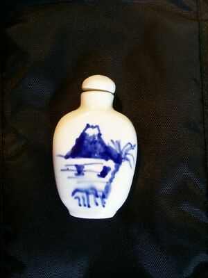 Old Chinese Snuff Bottle - Blue and White Glaze