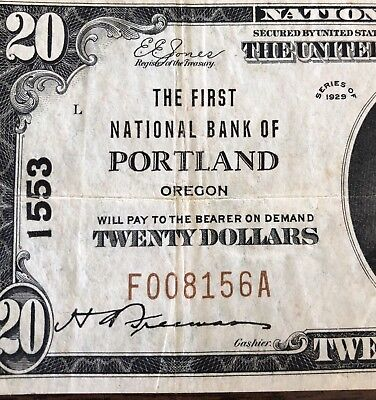1929 $20 First National Bank of Portland, Oregon National Banknote CH 1553