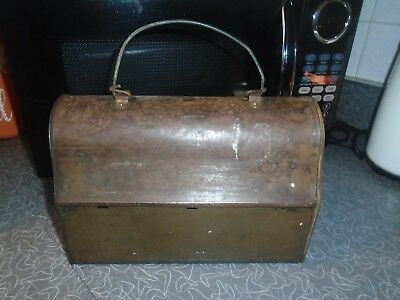 Vintage Antique Lunch Box Pail Bucket Metal  w/Thermos Coal Miner Steel Worker