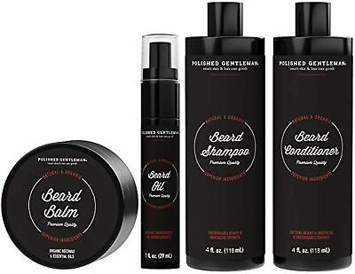 Complete All Natural Beard Grooming Kits For Men - With Beard Growth & Thicke...