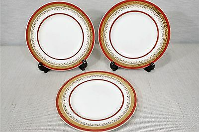 """LOT of 3 Myott & Sons The Crowning Burgundy  6 1/4"""" Bread and Butter Plates"""