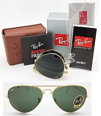 fdead5de526 NEW Rayban Folding Aviator sunglasses RB3479 001 58mm Gold G15 3479  AUTHENTIC