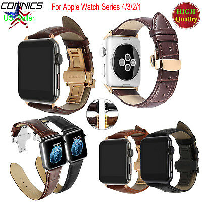 Women Men Butterfly Clasp Leather Watch Band Strap For Apple Watch 5 4 3 44/40mm