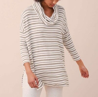 b2627ff16fa NWT! LOU & GREY LOFT Striped Cowl Neck Signature Soft Split Tunic Sz ...