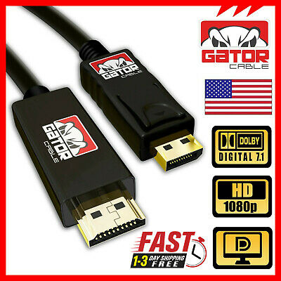 Display Port DP to HDMI Audio Video Cable Cord Adapter Gold Plated PC HDTV 10FT