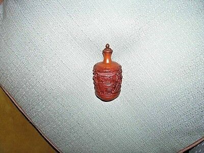 Old Intricately Carved Chinese Snuff Bottle - Rich Cognac Color