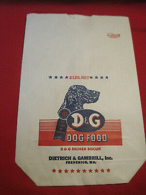 Vintage unused paper Dietrich & Gambrill D&G Dog Food Bag, setter hunting dog