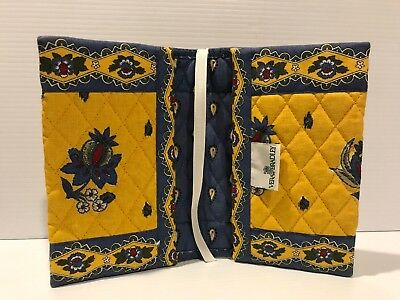 "Vera Bradley Book Cover Blue/Yellow 5"" x 7.5"" NEVER USED--RIBBON"
