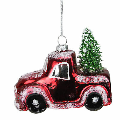 "4.25"" Frosted Shiny Red Pickup Truck with Flocked Christmas Tree Glass Ornament"