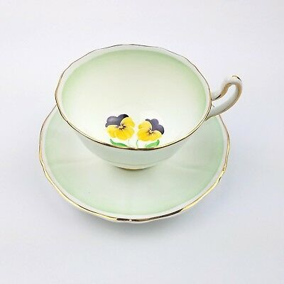 Vintage Adderley Hand Painted Green Pansies Fine Bone China Tea Cup and Saucer