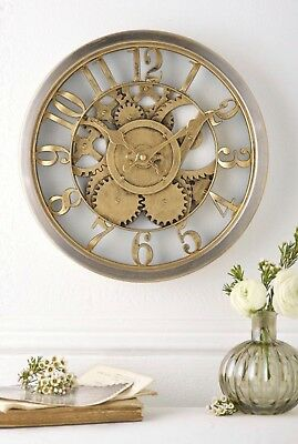 Hometime Wall Clock Rustic Style Gold Case Skeleton Dial Vintage Style W7800