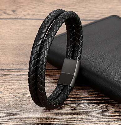 316L Stainless Steel Genuine Leather Bracelet ~ Double Leather - Black Clasp