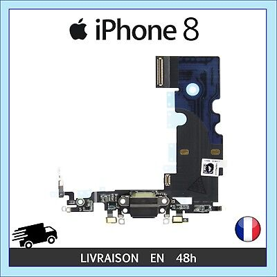 NAPPE CONNECTEUR DE CHARGE PORT LIGHTNING MICRO ANTENNE RESEAU iPHONE 8 NOIR