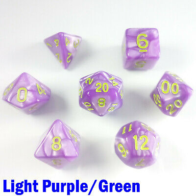 Pearl Poly 7 Dice RPG Set Light Purple Green Pathfinder 5e Dungeon Dragon D&D HD